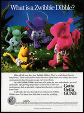 GUND - ZWIBBLE DIBBLE plush__Original 1991 Trade print AD / Toy Industry promo
