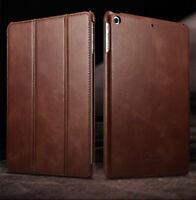 ICARER Echt Leder Flip Schutzhülle Case Smart Cover für iPad 9,7 2017 2018 Braun