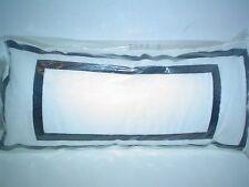 "Trina Turk Louis Nui Embroidered Oblong Pillow White Black 22 x 10"" Feather/Down"