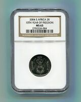 NGC Slabbed MS 65 South Africa 10th Year of Freedom R2 Year 2004 Democracy Coin