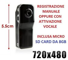 Mini Micro Telecamera DVR TD8 Mini DV Camera + Memory Card Secure Digital 8GB