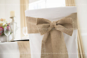 Burlap Chair Sash 6 inches x102 inches with Bow 6 inches x 12 inches