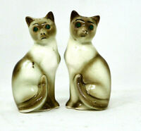 Vintage Pair Of Siamese Cats Green Jeweled Eyes Salt And Pepper Shakers Japan