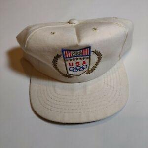 VTG Team USA 1988 Olympics Seoul Drew Pearson Hat Leather Strapback Cap White