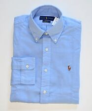 NWT Men's Ralph Lauren Casual Long-Sleeve Chambray Oxford Shirt Blue M, Medium