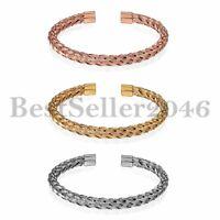 Men Women Stainless Steel Square Franco Chain Cuff Open Bracelet Adjustable