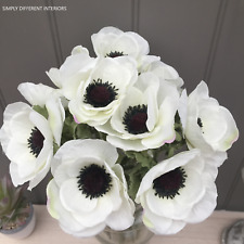 Bunch of White Artificial ANEMONE 10 Stems,10 Faux Silk Flowers,Home,Wedding