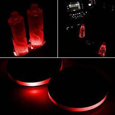 2 x Car Solar Cup Holder Bottom Pad Red LED Light Cover Trim Atmosphere Lights