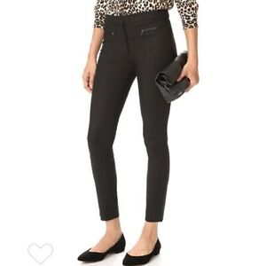 Club Monaco Black Cotton Emily Low Rise Leather Accent Career Pants Size 8 US