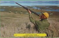 Vintage Postcard North Dakota ND Greetings Linton Duck Hunter Gun Rembrandt 110
