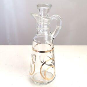 Mid Century Modern Greta Lippe Glass Cruet Gold Circles MCM Oil Vinegar Vintage