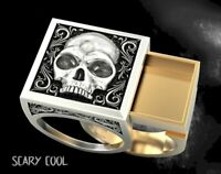 New Skull Embossed Secret Compartment Head Silver Gold Mens Gothic Biker Ring