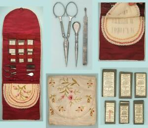 Antique Embroidered Silk Cased Sewing Set / Needle Book * English * Circa 1860s