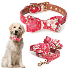 Pet Dog Puppy Bowknot Leather Studded Collar Lead For Small Medium Pet Dog