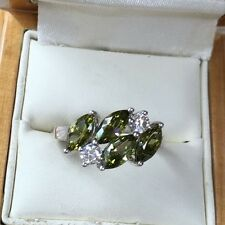 Peridot/CZ Dress Ring, Size S Weight 4.2g, Sterling Silver Hm 925