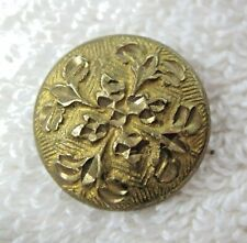 "Older Gold Tone Metal Button Raised Etched Floral Cross 5/8"" B72"