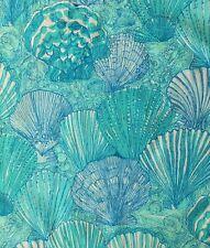 "Scallop Shells by Zuzek Key West Hand Print Fabric 35""x 30"" piece Turquoise/aqua"