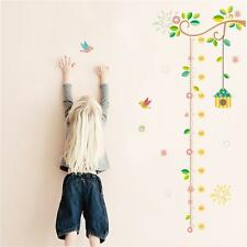 Bird Cage Tree Height Chart Wall Stickers Decals Nursery Baby Room Decor Q