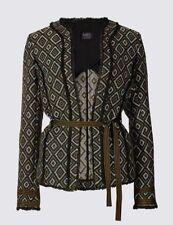 New M&S Collection Geometric Print Fringe Jacket Sz UK 14 & 16
