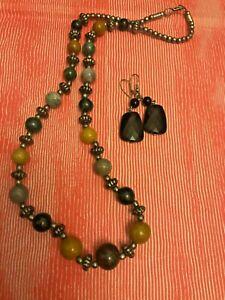 VINTAGE gift NECKLACE xmas womens stone precious jet 1970s set Stunning  beads