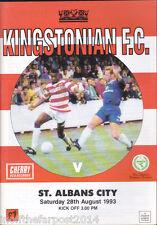 1993/94 KINGSTONIAN V ST ALBANS CITY 28-08-1993 Diadora League