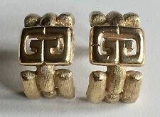 Vintage GIVENCHY Logo Statement Clip On Earrings Haute Couture Runway Jewelry