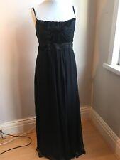 MONSOON Long Black Silk Party Dress-Size 14