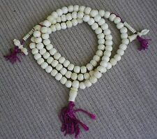 Tibetan Buddhist Prayer Bead Mala 108 Bead White Bone Beads Dorje Bell Counters