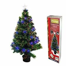 Black Fibre Optic Christmas Tree w/ Multicolor Tips PLASTIC Stand 3FT