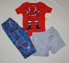 NEW~CARTERS TODDLER BOY 3 PIECE RED/BLUE FIREMAN  PAJAMAS SIZE 5T