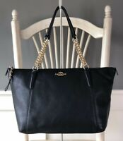 COACH Ava Chain 29007 Pebbled Leather Black Tote Shoulder Handbag Carryall Purse