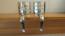"Vintage Pair Silver ""Snowflake"" Tea Light Candle Christmas Stocking Hanger Hooks"