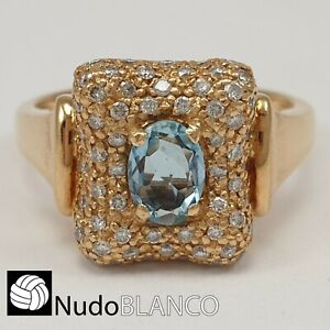 MODERN AQUAMARINE RING YELLOW GOLD 18K 7.4GR WITH DIAMONDS SIZE 7.5