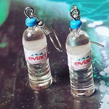 Unique EVIAN WATER EARRINGS handmade BOTTLE cute MINIATURE JEWELLERY cool