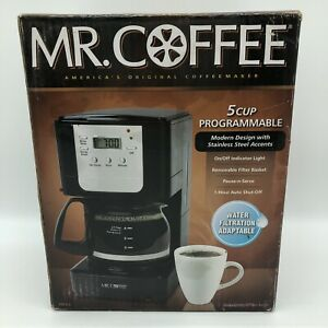 Mr. Coffee 5-Cup Programmable Maker Black Stainless Steel JWX3 Brewing Water NEW