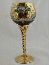 MURANO VENETIAN Smokey Amber Hand Painted Gold Gilt Applied Flowers Wine Glass
