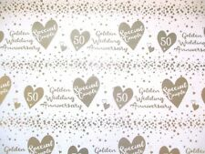 2 SHEETS GOLDEN WEDDING ANNIVERSARY GIFT WRAP SHEETS 2 TAGS GOLD HEARTS