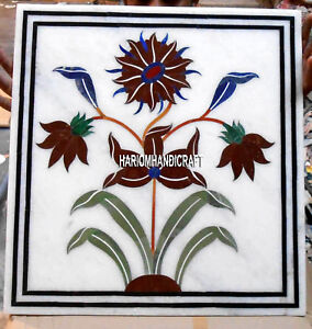 Marble White End Coffee Top Table Floral Work Inlaid Art Home Garden Decor H3341