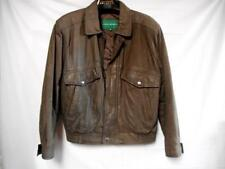 Mens HILL & ARCHER Chocolate Brown Leather Bomber Jacket Size 40