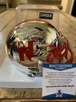 Mike Rozier Autographed/Signed Chrome Mini Helmet COA Nebraska Cornhuskers B