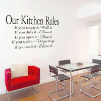 Kitchen RULES Quote Room Wall Stickers Vinyl Art Decal Decor Removab