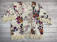 Umgee Womens Kimono Cardigan Small Floral Print Fringe Trim Boho Hippie Gypsy