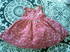 Maggie & Zoe Girl Embroidered Floral Dress 12 Month Hot Pink Lime Green NWOT