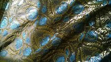 Rich blue, gold and black Brocade fabric 1m. Hard to find. UK SELLER