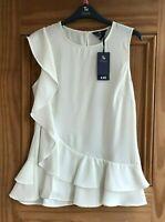 TU Brand New Cream Off White Frill Sleeveless Summer Top Blouse Plus Size 8 - 22