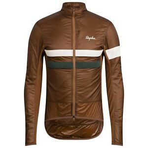 NEW Rapha Men's Cycling Jacket Brevet Insulated XL Brown White RCC Winter DWR