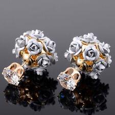 1 Pair Women Elegant Rhinestone Crystal Flower Floral Ear Stud Earrings Jewelry
