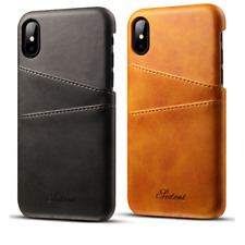 Genuine Cowhide Leather Card Slot Phone Case For iPhone X XR XS Max Plus 8 7 6