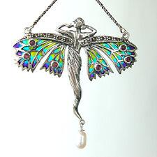 C146  Collier Style Art Nouveau Argent Massif 925 Perles & Rubis & Marcasites