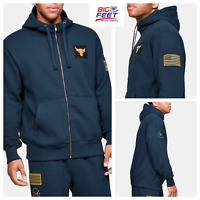 Size XL Under Armour UA USA Freedom x Project Rock Navy Full Zip Hoodie Jacket